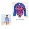 Girls' Long Sleeve One Piece Swimsuit - art class™ Blue สีน้ำเงิน ชุดว่ายน้ำแขนยาว ผ้า UPF50+ กันรังสี UV