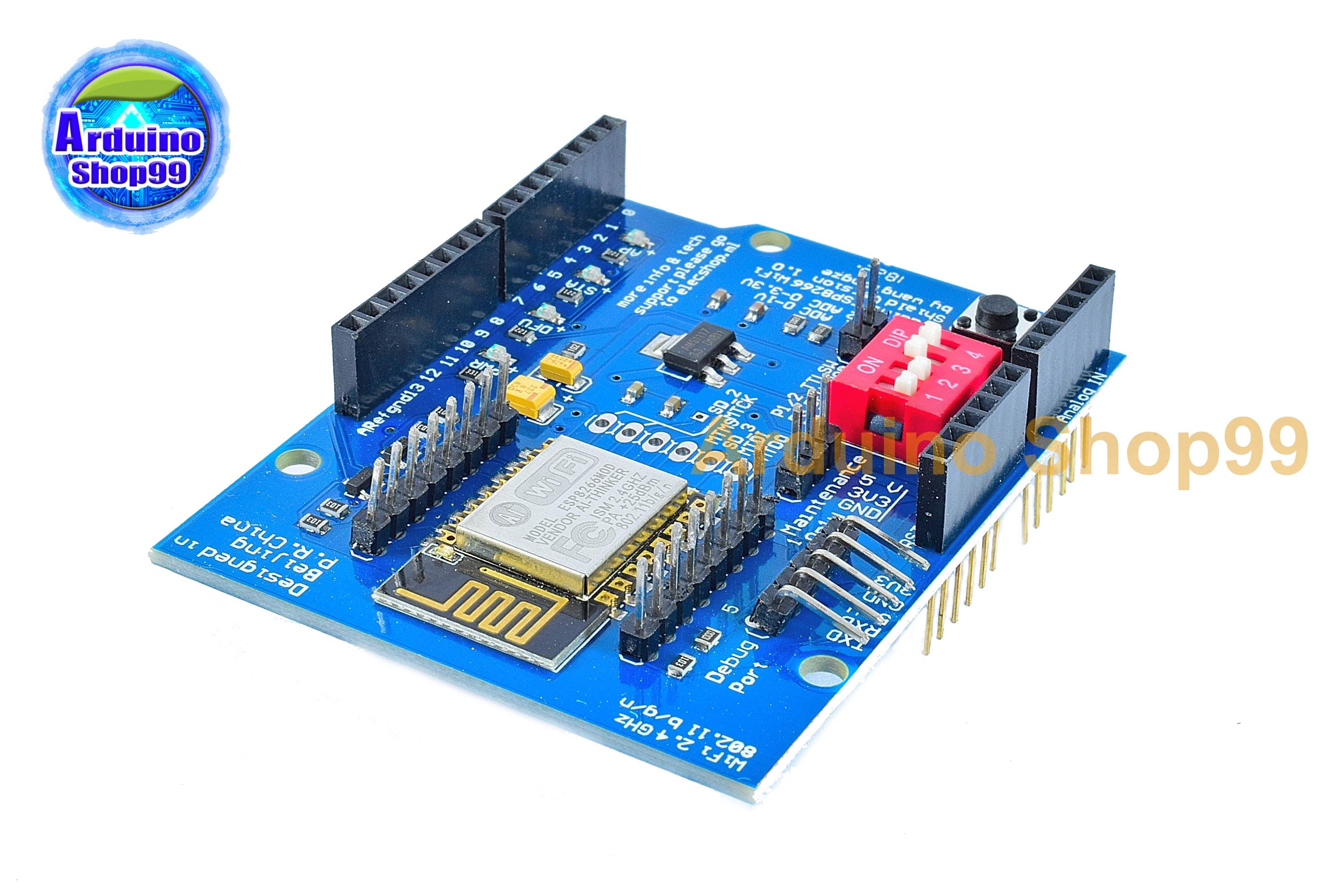 UNO R3 - ESP8266 Serial WiFi Shield Extend Board for Arduino - Blue