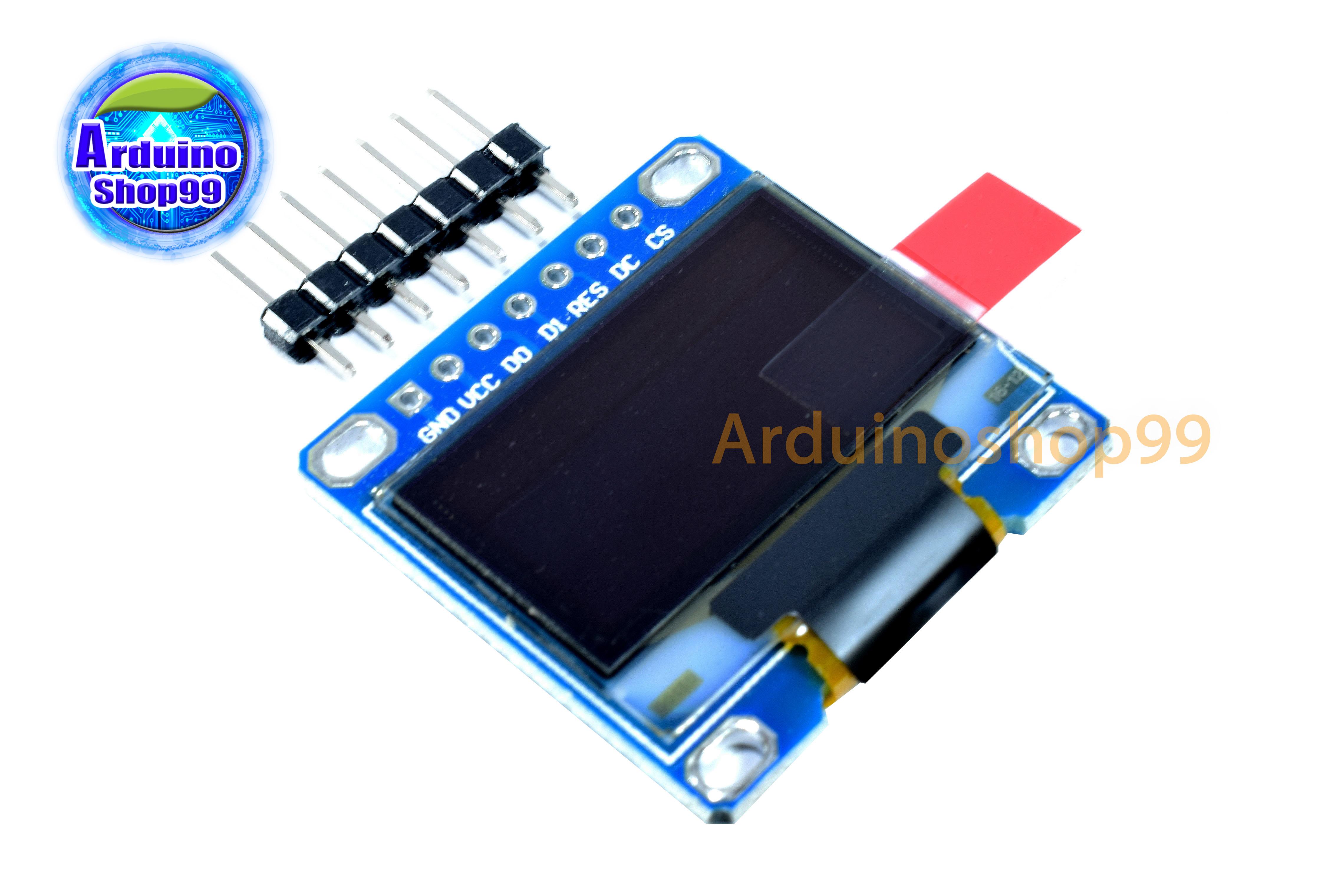 จอแสดงผล OLED ขนาด 0 96 นิ้ว แบบ SPI/I2C สีขาว 7 pin