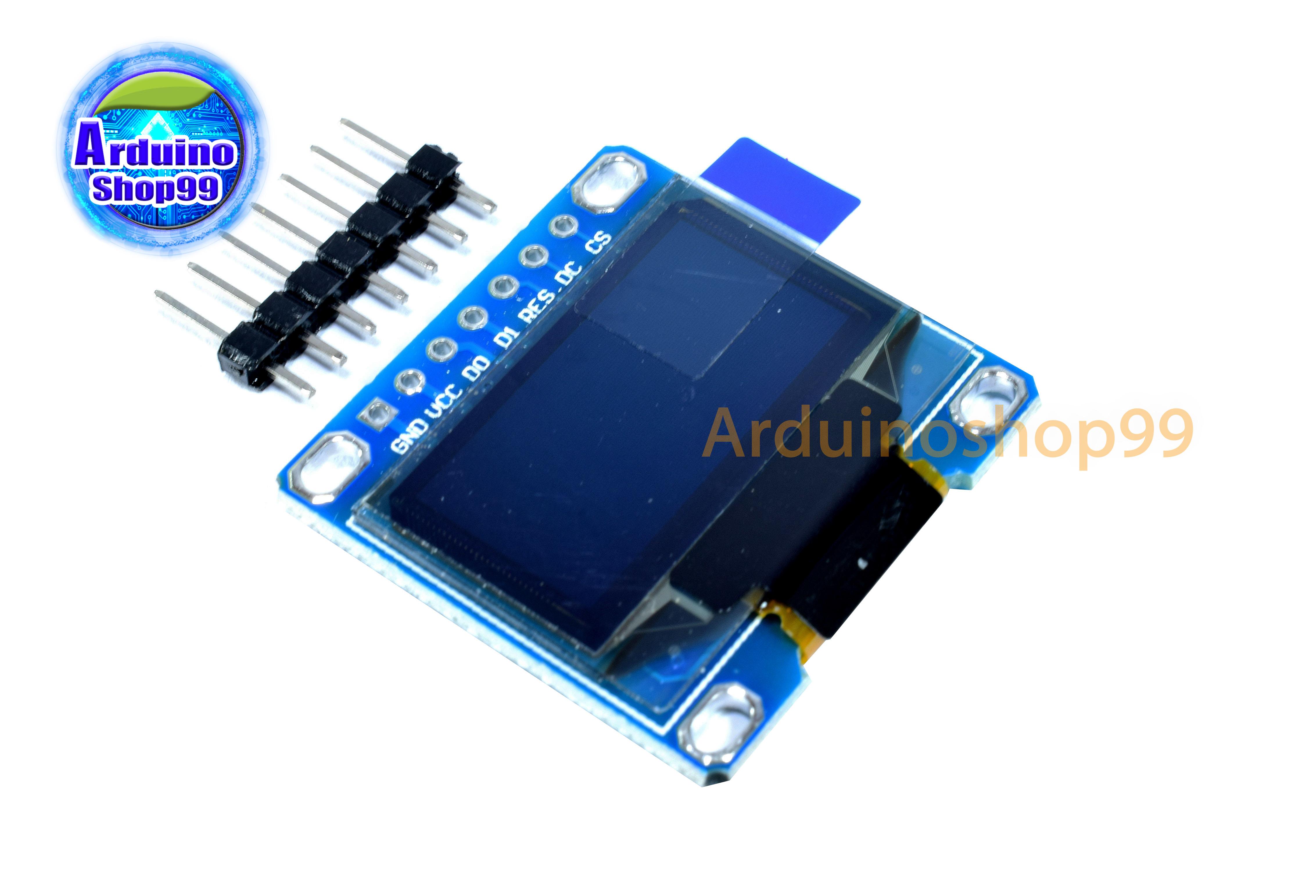 จอแสดงผล OLED ขนาด 0 96 นิ้ว แบบ SPI/I2C สีน้ำเงิน 7 pin
